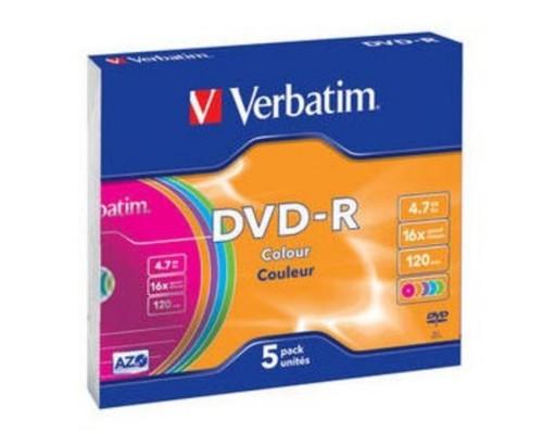 Диск DVD-R 4,7Гб Verbatim 16x (43557) AdvancedAzo+, цветные, Slim (5шт./уп.)