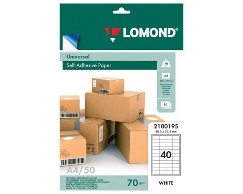 Бумага A4  70г/м2 Lomond 2100195 самоклеющаяся, разделенная 40/48,5x25,4мм, 50л.