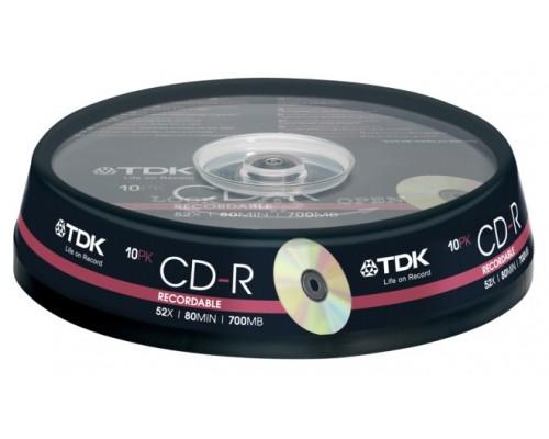 Диск CD-R 700Мб TDK 52x CD-R80CBA10 (19539) 80 min туба (10шт/уп), 1 диск