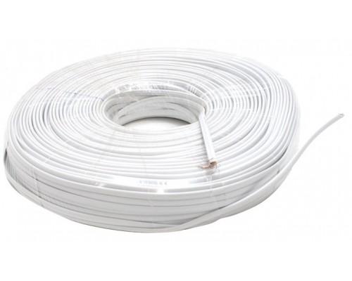 Кабель телефонный 4 провода, многожильный, плоский, 1м, белый (бухта 100м)