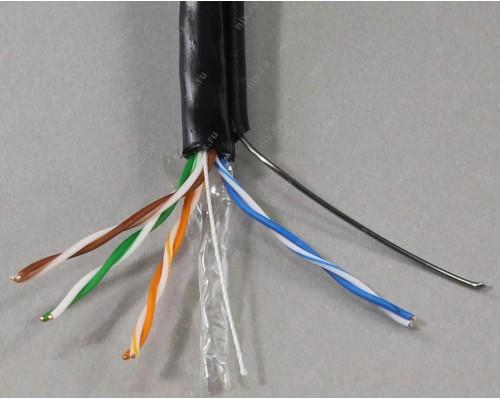 Кабель UTP Cat 5e BaseLevel BL-UTP04-5e-CU-PE, Cu, PVC, 4 пары, 24AWG(0.50мм), оболочка PVC, для внешней прокладки, бухта 305м, 1м