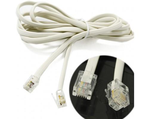 Кабель телефонный 4 провода, многожильный, плоский, 5м, белый