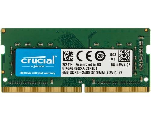 Модуль памяти DDR4 Crucial 4Gb 2400MHz CL17 SO-DIMM 1,2v CT4G4SFS824A RTL
