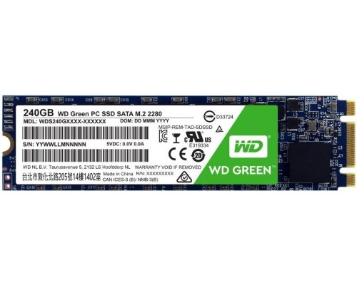 Винчестер M.2 2280 240Gb SATA III Western Digital Green WDS240G2G0B (TLC), Write 465MB/s, Read 540MB/s