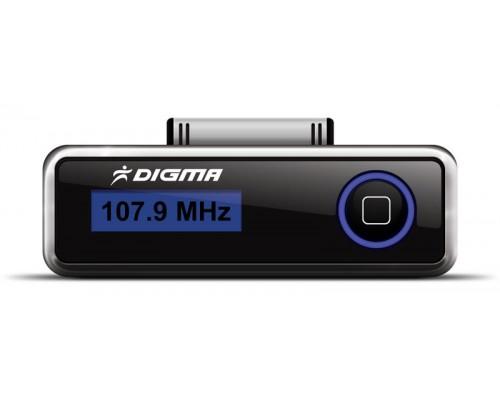 Автомобильный FM-модулятор Digma iFT503, для использования с iPhone, iPad, iPod, USB, подзарядка устройства, дисплей, черный
