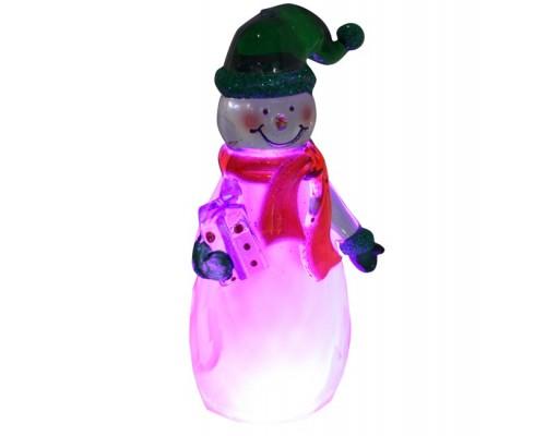 Сувенир - светящаяся игрушка Снеговичок - зеленый колпачок NY6002, светящаяся USB
