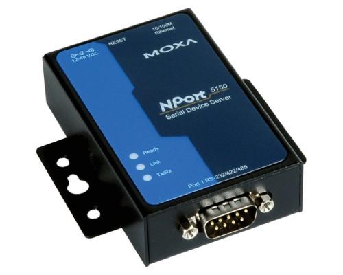 Сервер 1-портовый асинхронный Moxa NPort-5150, преобразование интерфейса RS-232, RS-422 или RS-485 в Ethernet.