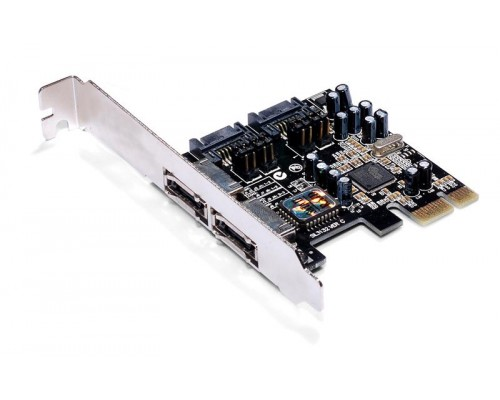 Контроллер PCI-Ex1 AgeStar SATAII as-pes4-s32 (Silicon 3132), 2xeSATA + 2xSATA, подключение двух накопителей SATA или eSATA, RAID
