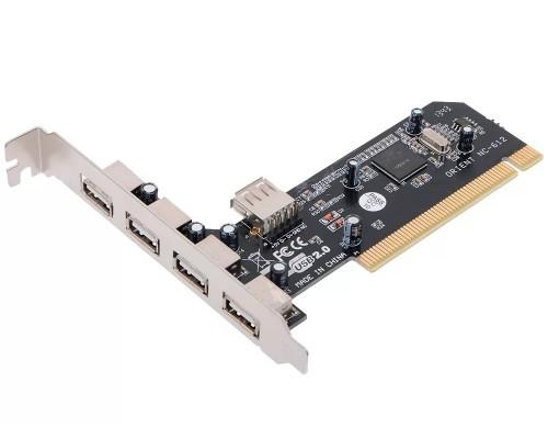 Контроллер PCI Orient NC-612 USB2.0 (4внеш.+1внутр.) OEM