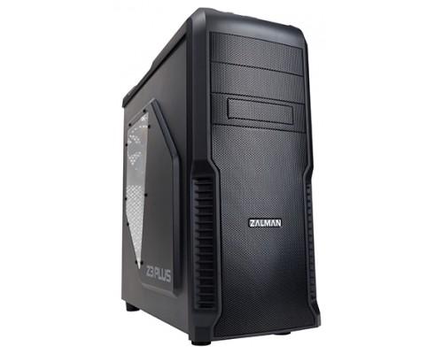 Корпус Zalman Z3 Plus, ATX, fan case 4x120mm (установлено 4, с синей LED подсветкой на передней панели), USB2.0x2, USB3.0x1, Audio I/O, черн., без БП