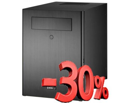 Корпус Lian-Li mini-ITX PC-Q28B Al, 5.25 x1, 3.5 x 6, возможность установки 2.5 носителей вместо двух 3.5, fan case 1х140mm(установлен), 1x120mm(установлен), 2xUSB3.0, без БП, черный