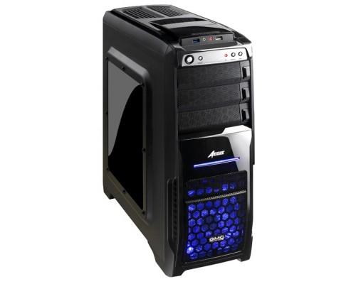 Корпус GMC Aegis ATX, front fan  1х120mm (установлено: 1х120mm с подсв), 2х120mm (установлено: 2х120mm), окно, 1хUSB2.0/1хUSB3.0/Audio, Black (без БП)
