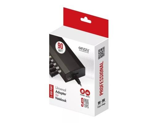 Блок питания для ноутбука Ginzzu 90W GA-4290U (универсальный автоматический 15-20V, USB, 9 переходников, питание от бытовой электросети или от прикуривателя)