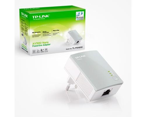 Сетевой адаптер TP-LINK TL-PA4010P KIT AV500 Powerline Adapter 500 Мбит/с. 1хLAN, с проходной розеткой 220в (комплект из 2-х адаптеров TL-PA4010P)