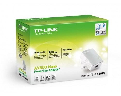 Сетевой адаптер TP-LINK TL-PA4010 KIT AV600 Powerline Adapter до 600 Мбит/с. 1хLAN. (комплект из 2-х адаптеров TL-PA4010)