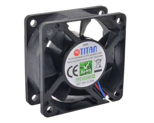 Вентилятор  60x60x25мм Titan TFD-6025M12Z, 4500rpm, 23.17CFM, 32dBA, Z-axis, пит от МВ