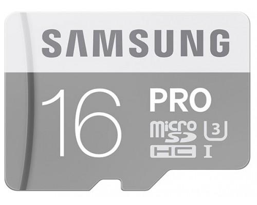 Карта памяти MicroSD 16Gb Samsung PRO MB-MG16EA/RU, UHS-I U3 Class 10 + адаптер SD запись/чтение - до 60/90 Мб/сек