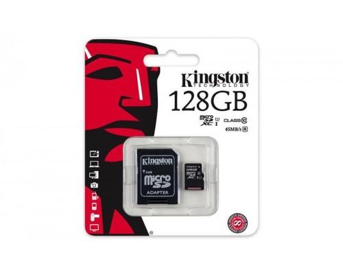 Карта памяти MicroSD 128Gb Kingston SDC10G2/128GB MicroSDXC UHS-I U1 Class 10 + адаптер запись/чтение - до 10/45 Мб/сек