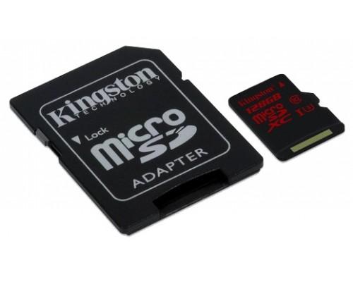 Карта памяти MicroSD 128Gb Kingston SDCA3/128GB MicroSDXC UHS-I U3 Class10 + адаптер SD запись/чтение - до 80/90 Мб/сек