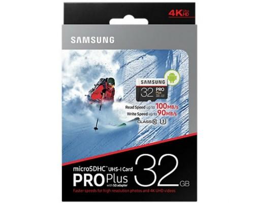 Карта памяти MicroSD 32Gb Samsung Pro Plus MB-MD32GA/RU, UHS-I U3 Class 10 + адаптер SD запись/чтение - до 90/100 Мб/сек