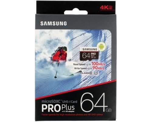 Карта памяти MicroSD 64Gb Samsung PRO MB-MD64GA/RU, UHS-I U3 class 10 + адаптер SD запись/чтение - до 90/100 Мб/сек