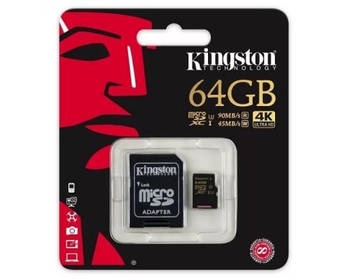 Карта памяти MicroSD 64Gb Kingston SDCG/64GB MicroSDXC UHS-I U3 Class10 + адаптер SD запись/чтение - до 45/90 Мб/сек