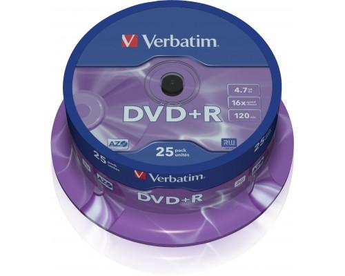 Диск DVD+R 4,7Гб Verbatim 16x (43500) DataLifePlus, AdvancedAzo+, туба (25шт/уп) - 1диск