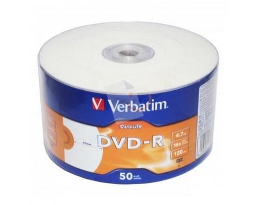 Диск DVD-R 4,7Гб Verbatim 16x (43793), 50шт в обтяжке, 1 диск