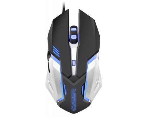 Мышь Oklick 855G Cyber игровая оптическая 2400dpi 6 кнопок синяя подсветка колесика и логотипа USB черный-серебристый