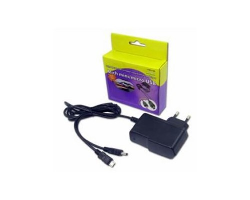 Адаптер питания 220V -> 5V 2000mA KS-003 черный (USB A), mini+micro USB кабель в комплекте