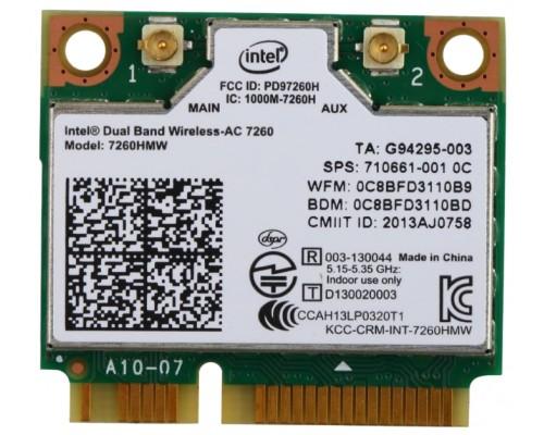 Адаптер Wi-Fi 802.11ac Intel 7260NGW AN Dual Band 2,4/5 ГГц, 300Мбит/с, Bluetooth 4.0, mini PCI-E, M2