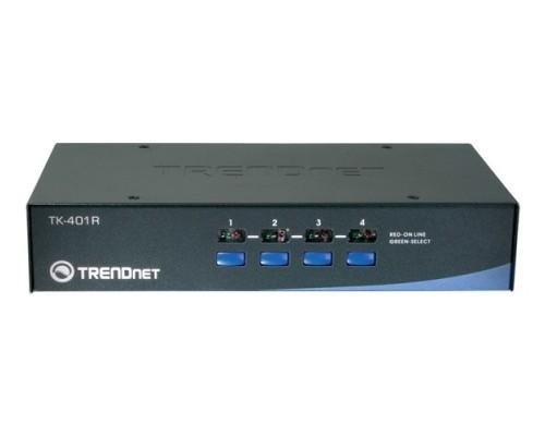 Переключатель KVM Trendnet TK-401R консоль (D-Sub+2x PS/2), 4x ПК (D-Sub+2x PS/2), 1U 19