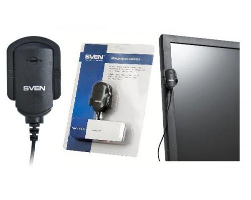 Микрофон Sven MK-150, диапазон частот 50 - 16000 Гц, чувствительность -60 дБ, крепления к столу, монитору или одежде, черный