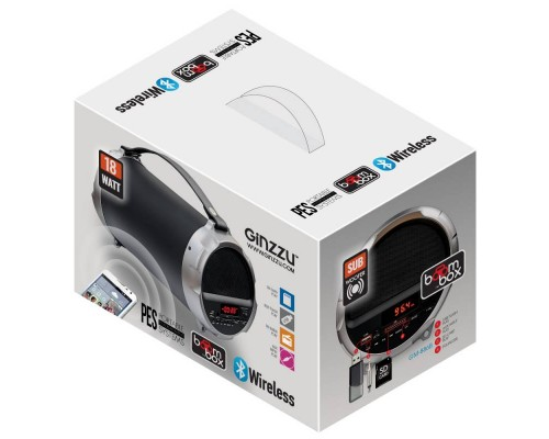 Актив. акуст. система Ginzzu GM-886B, сабвуфер 12Вт, сателлиты 2x3Вт, портативная, с MP3 плеером, с FM радио, черно-серебр. (Bluetooth)