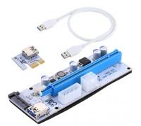 Адаптер RiserCard USB PCI-E x1 Male to PCI-E x16 Female, питание 4pin Molex, 15pin SATA, 6pin, 60см, PCE164P-N06  VER 008S White