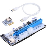 Адаптер RiserCard USB PCI-E x1 Male to PCI-E x16 Female, питание 4pin Molex, 15pin SATA, 6pin, 60см, PCE164P-N06  VER 008S White