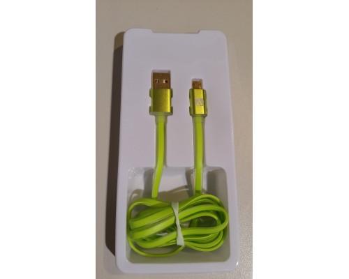 Кабель USB AM-microB 5Pin ACD ACD-U915-M2G, индикатор заряда, двусторонние разъемы, силиконовый кабель, зеленый, 1м