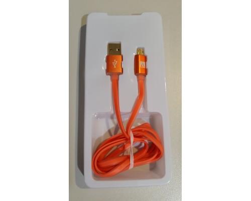 Кабель USB AM-microB 5Pin ACD ACD-U915-M2O, индикатор заряда, двусторонние разъемы, силиконовый кабель, 1м, оранжевый