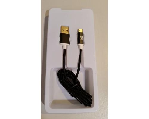 Кабель USB AM-microB 5Pin ACD ACD-U913-M2B, двусторонние разъемы, нейлоновая оплетка, 1м, черный