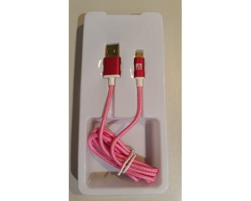 Кабель USB AM-microB 5Pin ACD ACD-U913-M2M,  двусторонние разъемы, нейлоновая оплетка, 1м, розовы