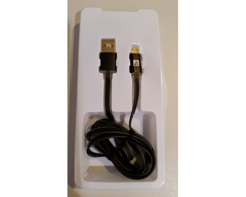 Кабель USB AM-microB 5Pin ACD ACD-U915-M2B, индикатор заряда, двусторонние разъемы, силиконовый кабель, 1м, черный
