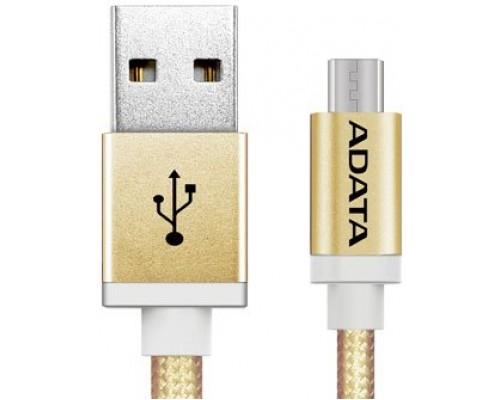 Кабель USB AM-microB 5Pin Adata AMUCAL-100CMK-CGD, армированная оплетка, двусторонний разъем, золотистый, 1м