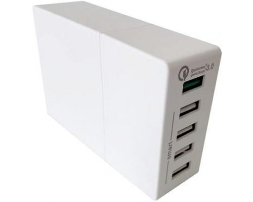 Адаптер питания 220В -> 3,6-12B, 3000mA ACD ACD-Q525-X3W, 5хUSB A, поддержка Qualcomm Quick Charge 3.0, защита от перезаряда, перегрузки и короткого замыкания, белый