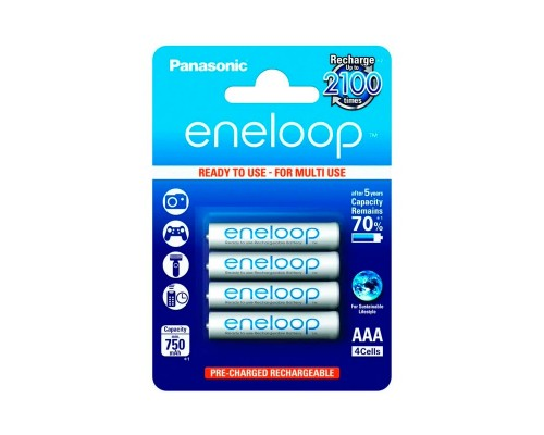 Аккумулятор AAA Panasonic eneloop BK-4MCCE/4BE 1,2B 750 мАч Ni-MH с пониженным саморазрядом 4шт./уп. (1шт)