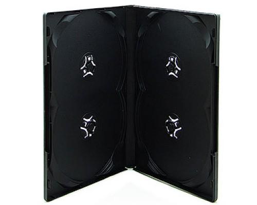 Бокс для  4 DVD, 14мм, глянцевая пленка, черный