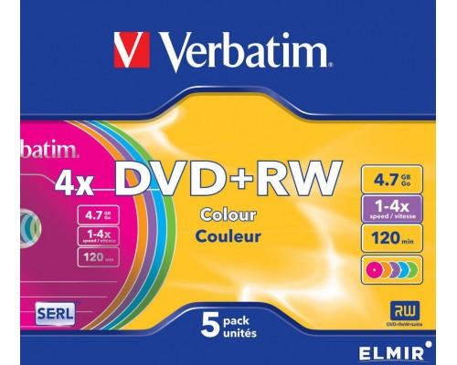 Диск DVD+RW 4,7Гб Verbatim 4x (43297) DataLifePlus, цветные, Slim (5шт/уп)