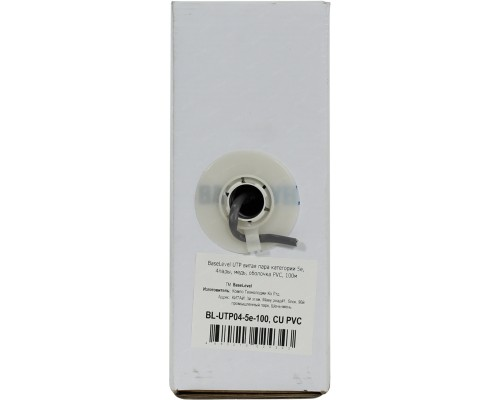 Кабель UTP Cat 5e BaseLevel BL-UTP04-5e-100, Cu, PVC, 4 пары, 24AWG(0.50мм), оболочка PVC, бухта 100м, 1м