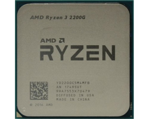 Процессор AMD Ryzen R3-2200G 3,5GHz 4 Core L3-4МБ 2xDDR4-2800 Radeon Vega 8 TDP-65W SocketAM4 OEM