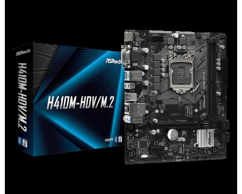 Материнская плата  ASRock S1200 H410M-HDV/M.2 2xDDR4 up 64Gb 4xSATA 1xM2 1xD-Sub 1хDVI 1xHDMI1.4 mATX RTL