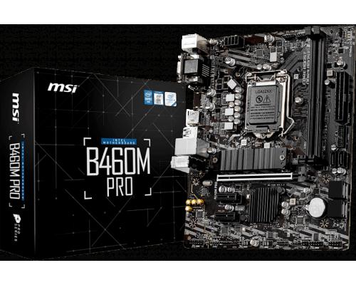 Материнская плата MSI S1200 B460M PRO 2xDDR4 up 64Gb 1xM2 6xSATA RAID 0,1,5,10 1xD-Sub 1xDVI 1xHDMI1.4 mATX RTL